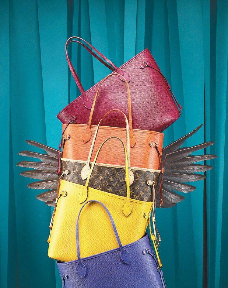 LV經典的Neverfull包款,推出多款材質,以鵝的羽毛隱喻它的輕巧與大容量。...