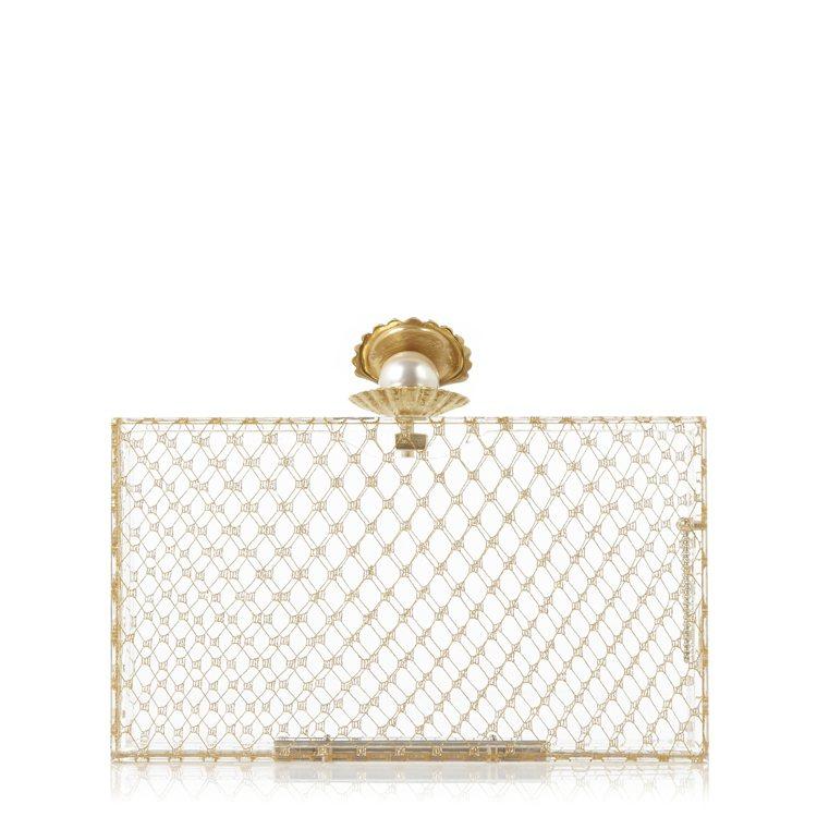 金屬珍珠釦飾手拿包,54,800元。圖/藍鐘提供