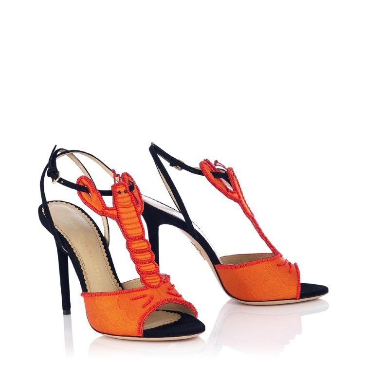 龍蝦造型T字高跟涼鞋。圖/藍鐘提供