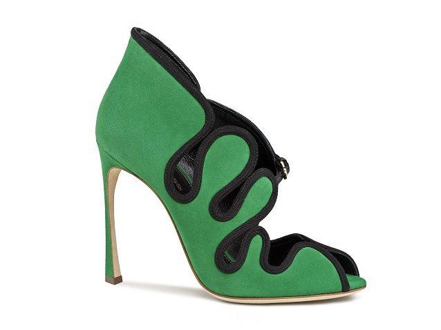 綠黑色羅馬曲線魚嘴高跟鞋 ,48,800元。圖/Sergio Rossi提供