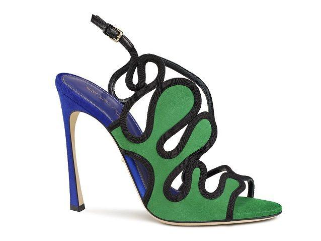 綠黑色羅馬曲線高跟涼鞋,39,800元。圖/Sergio Rossi提供