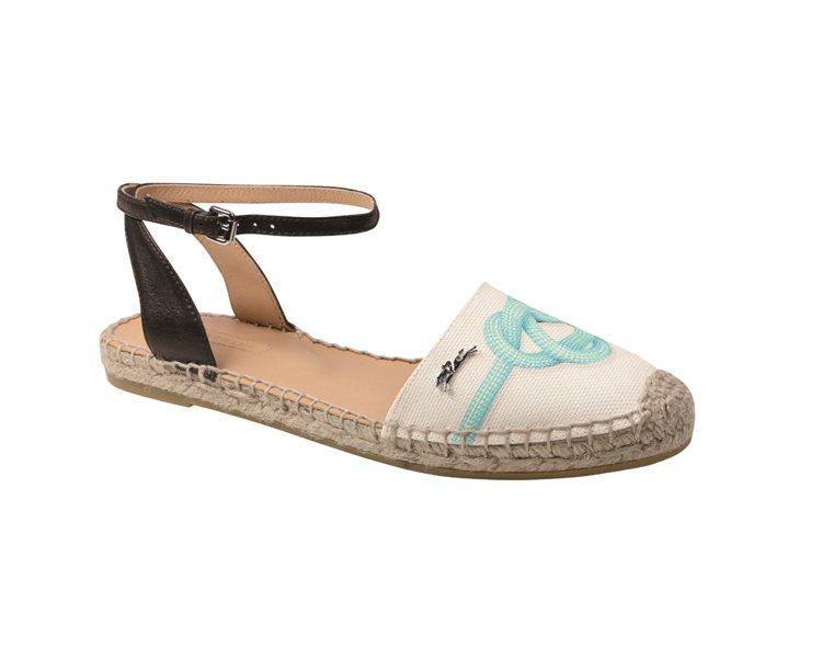 Longchamp 法式草編鞋履系列標誌性繩結帆布鞋面(藍) NT7,800。圖...