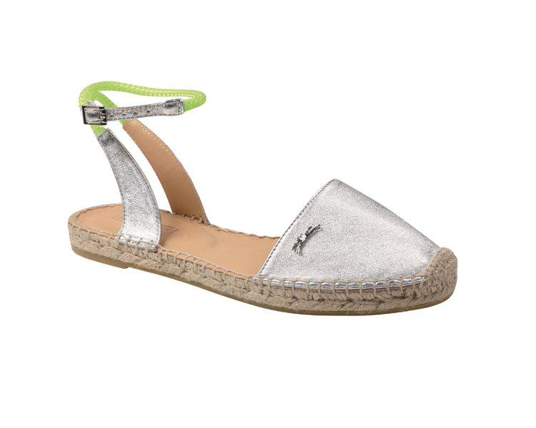 Longchamp 法式草編鞋履系列金屬色羊皮鞋面混搭螢光色腳踝繫帶 NT7,1...