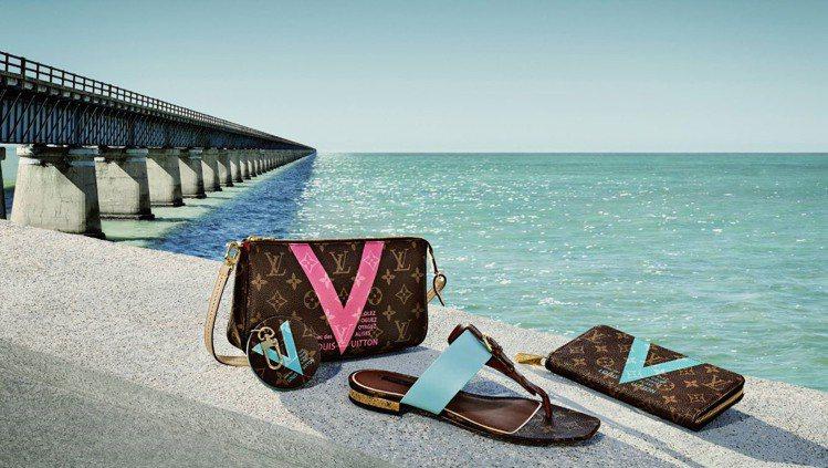 LV全新2015夏季商品,從品牌60年代經典廣告中的V字型重新轉化運用,運用粉嫩...