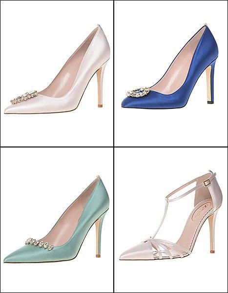 SJP 新娘鞋以藍色為主,有粉嫩的嬰兒藍、典雅的深藍,清新湖水藍...並以鑽石巧...