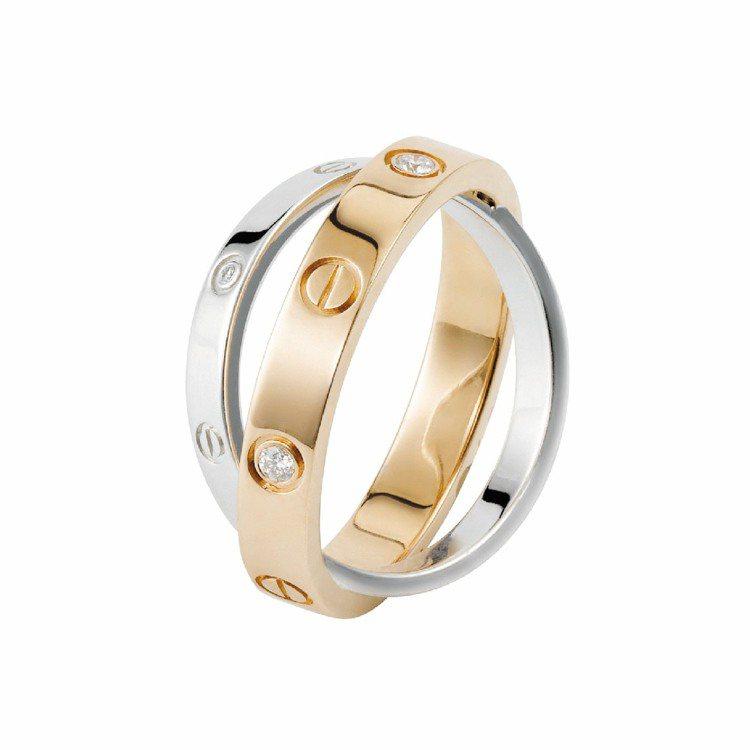 LOVE系列雙環鑽戒,玫瑰金環搭配白K金,各鑲嵌3顆鑽石,97,000元。圖/C...