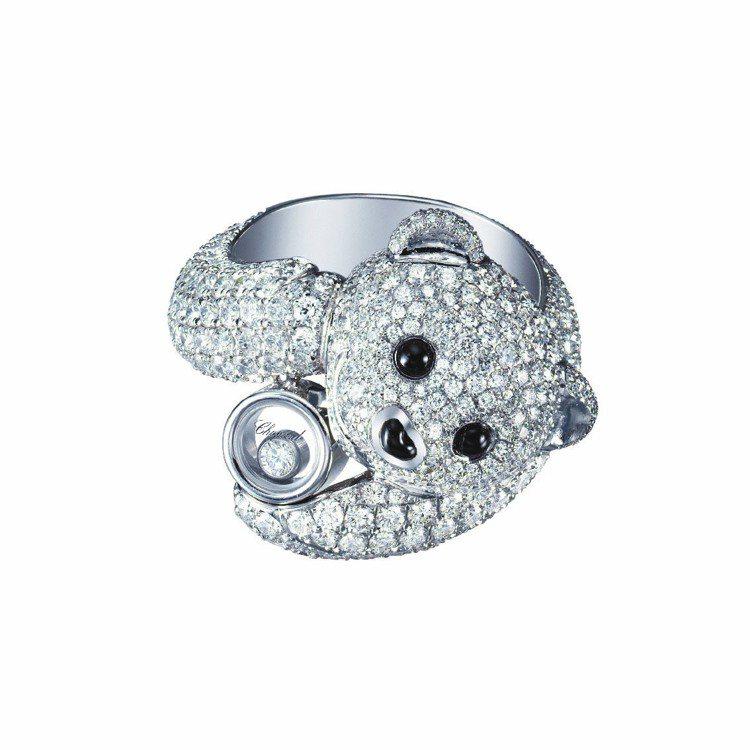 蕭邦動物世界系列小熊戒指,18K白金鑲嵌鑽內含單顆滑動鑽石,搭配黑色縞瑪瑙,12...