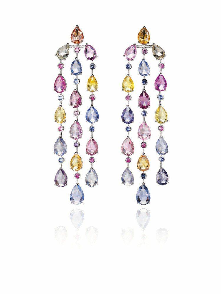 蕭邦頂級訂製紅地毯系列耳環,18K白金鑲嵌各色彩寶及鑽石。圖/迪生提供