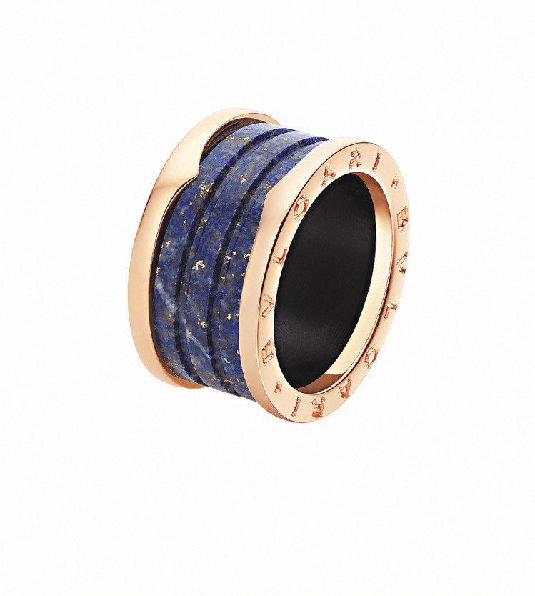B.zero1玫瑰金青金石藍大理石戒指,35,400元。圖/BVLGARI提供