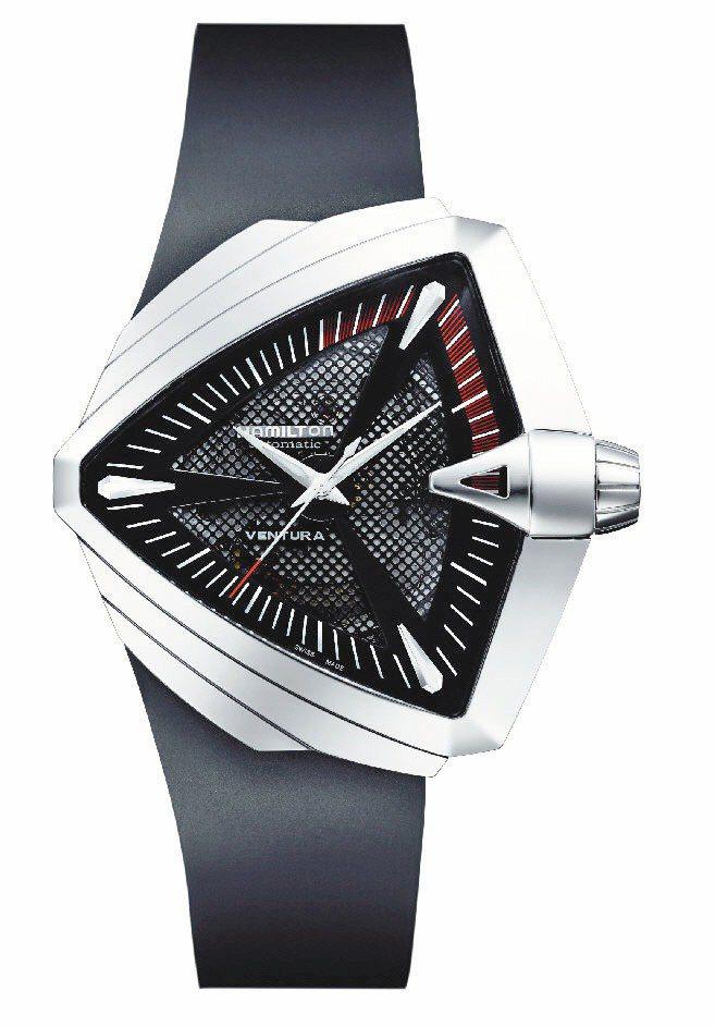 Hamilton Ventura腕表,自動機芯,42mm不鏽鋼表殼,黑色橡膠表帶...