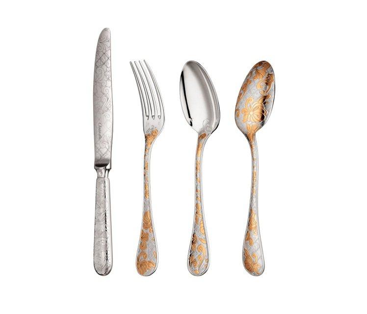 Garden of Eden系列:銀與部分鍍金的餐桌用具9,500-11,500...