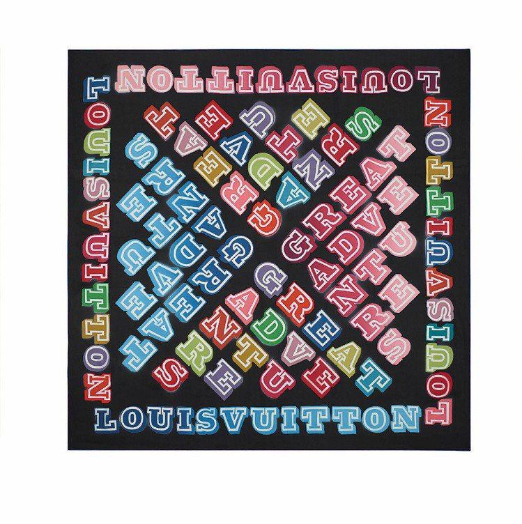LV邀請藝術家EINE特別設計的絲巾、25,900元。圖/LV、Ferragam...
