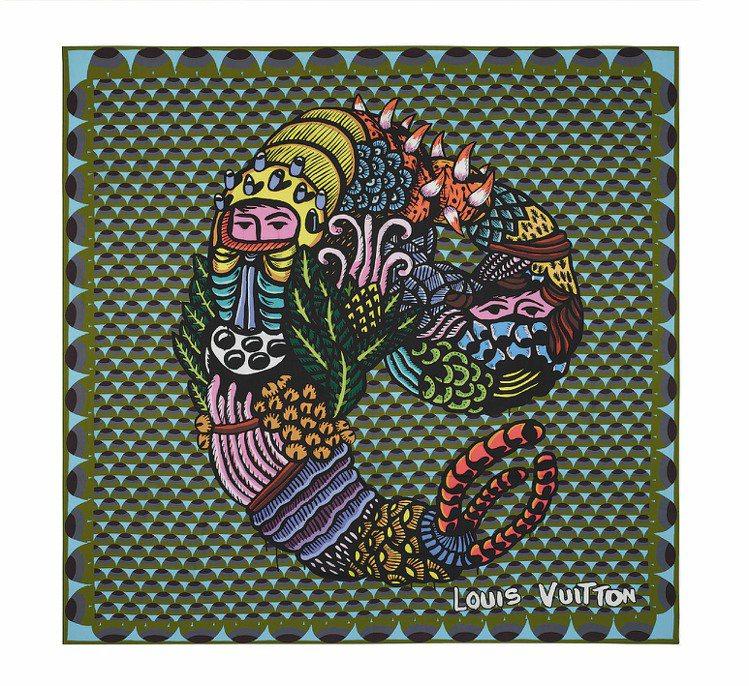 藝術家Eko Nugroho為LV設計的絲巾、25,900元。圖/LV、Ferr...