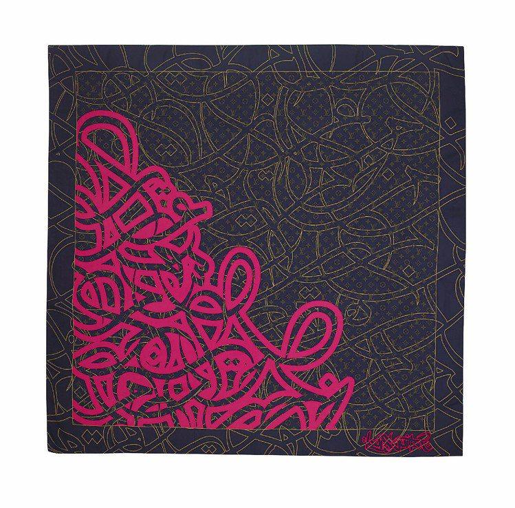 LV邀請藝術家eL Seed設計的絲巾、25,900元。圖/LV、Ferraga...