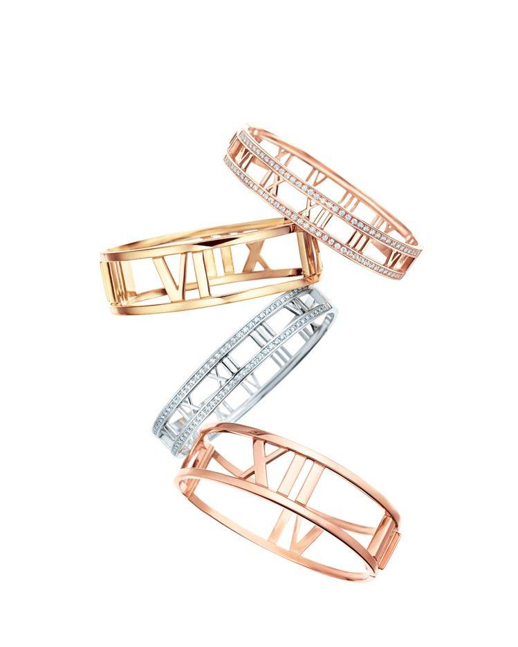 Tiffany Atlas系列手環,有寬窄的18K玫瑰金、白金或黃金,以及鑲鑽版...