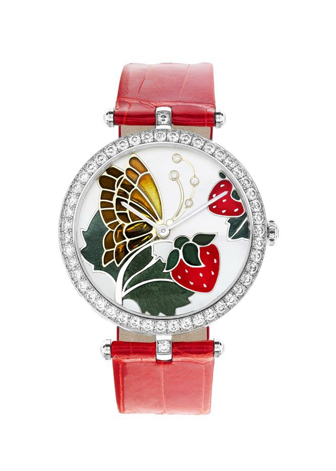Lady Arpels Papillon Rouge Gourmand 腕表,白...