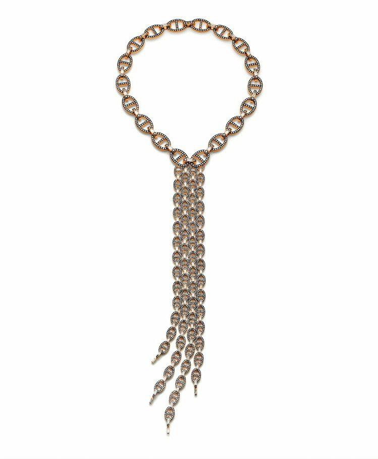 Oceane系列18K黑色鍍銠玫瑰金項鍊,18K黑色鍍銠玫瑰金鑲嵌1919顆鑽石...