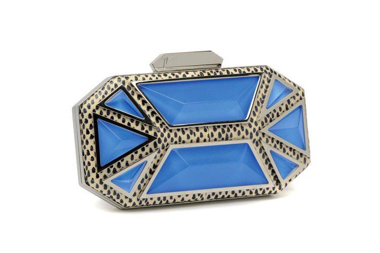 Giuseppe Zanotti Design蛇紋滾邊拼接藍色寶石硬殼手拿包、6...