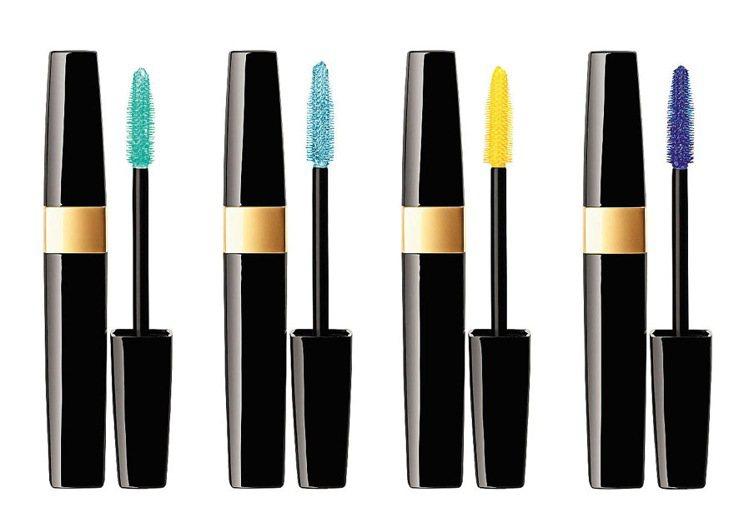 深邃大眼防水睫毛膏推出熱情黃、淺碧綠、純水藍、海軍藍四色。每支1,100元。圖/...
