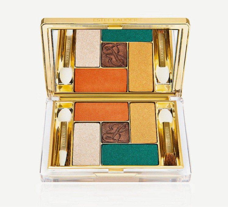 雅詩蘭黛限量純色晶灩五色眼影,結合湖水綠、橘、金色調,創造多彩眼妝。1,950元...