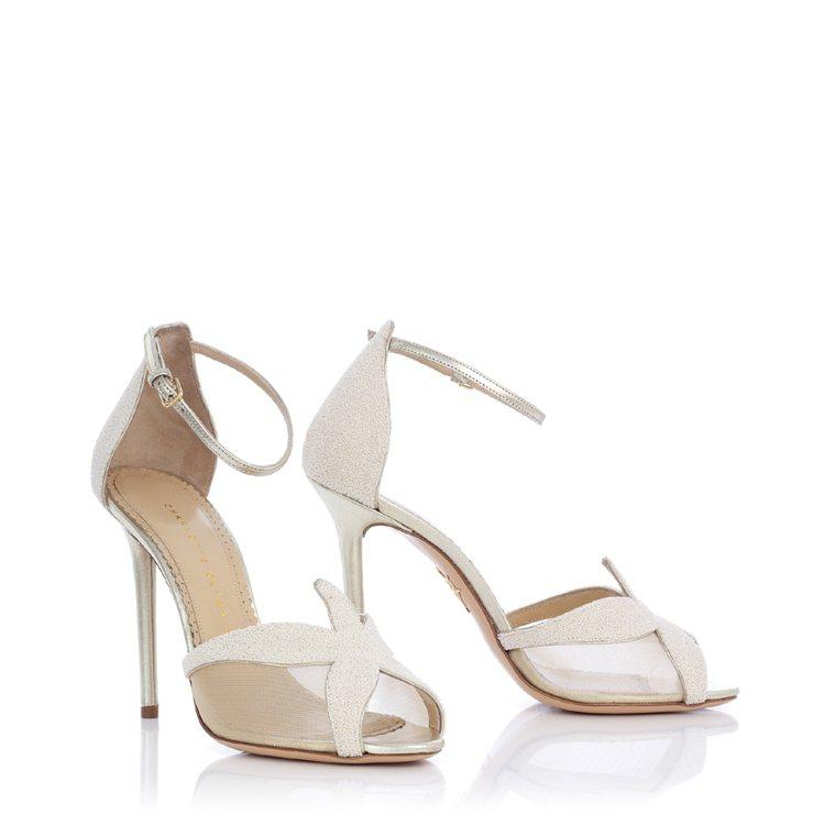 海星網紗白色高跟涼鞋,35,800元。圖/Charlotte Olympia提供