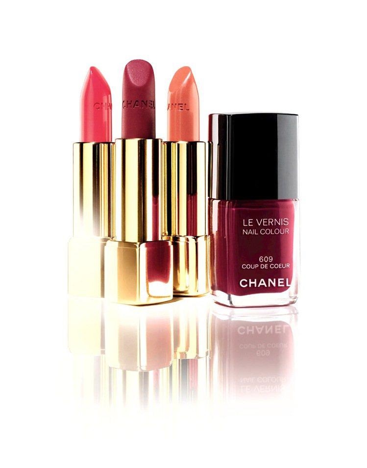 香奈兒唇膏、指彩系列新色適合「冷豔」女魔頭時尚風格。圖/香奈兒提供