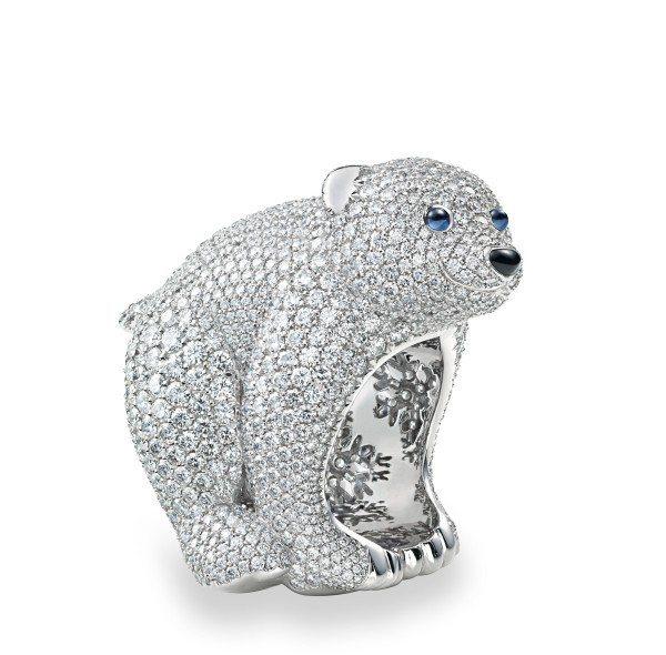 蕭邦動物世界系列北極熊戒指。圖/迪生提供
