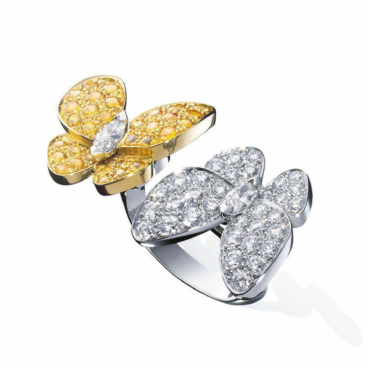 Two Butterfly指間戒,白K金及黃K金鑲嵌鑽石及黃色剛玉。圖/梵克雅寶...