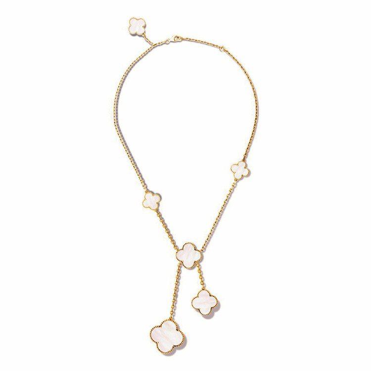 Magic Alhambra項鍊,6枚幸運圖案,黃K金鑲嵌白色珍珠母貝。圖/梵克...