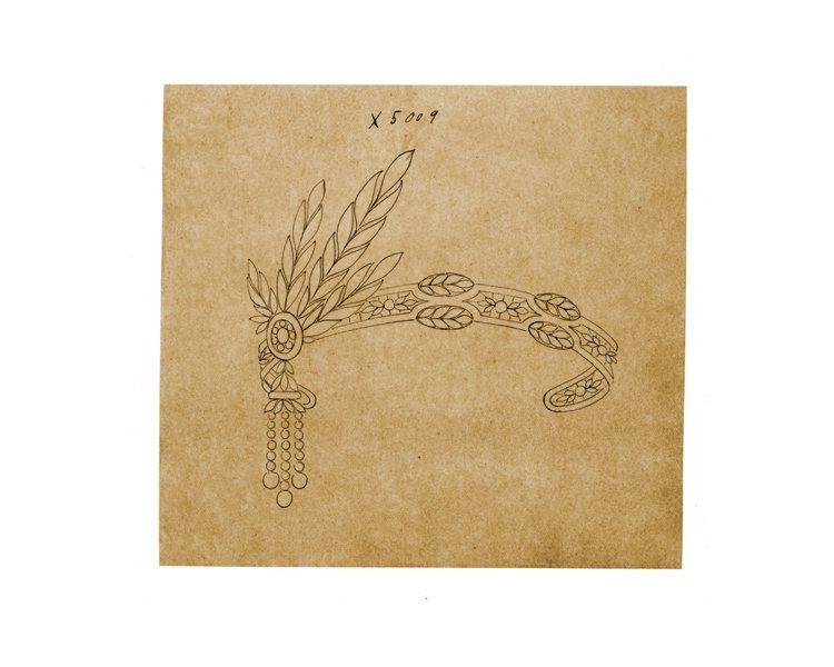 TIFFANY 二○年代Archive頭飾設計圖稿。圖/珠寶之星提供