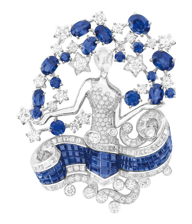 VAN CLEEF & ARPELS星座處女座藍寶石別針, 優雅的芭蕾女伶化身夜...