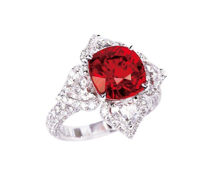 GLAMOUR天然無燒紅寶石鑽石戒指,鑲嵌紅寶石7.08克拉、188顆鑽石共3....