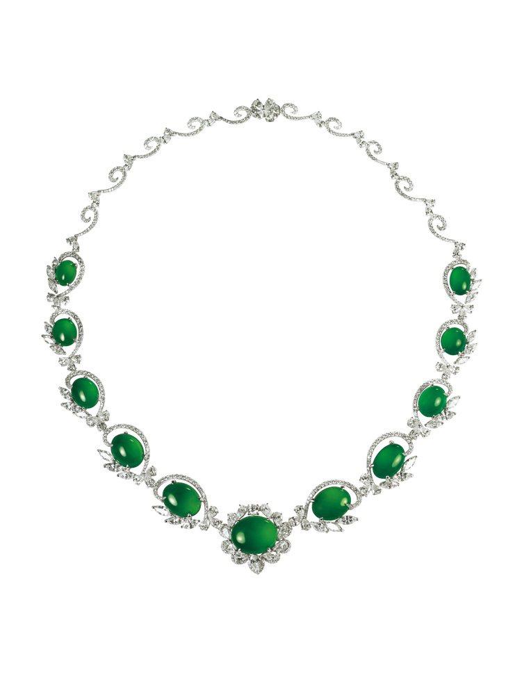 GLAMOUR天然翡翠套鍊,翡翠套鍊鑲嵌11顆蛋面翡翠、619顆鑽石共19.16...