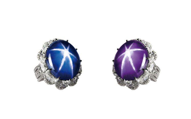 GLAMOUR天然變色藍寶星石戒,變色藍寶星石42.31克拉、259顆鑽石共7....
