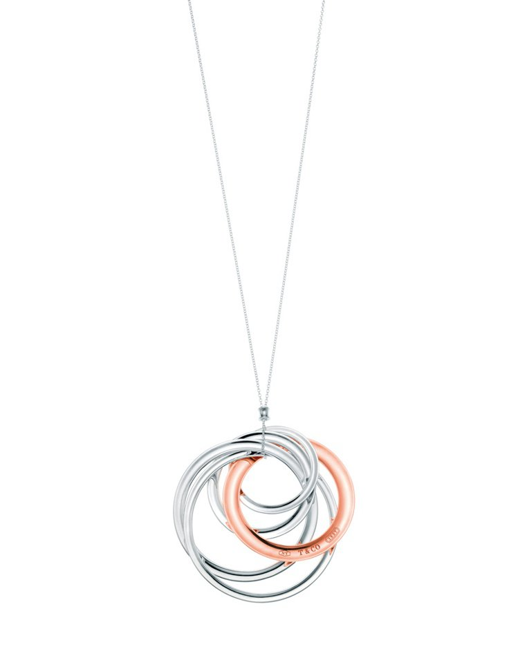 TIFFANY 1837系列RubedoTM金屬與純銀鎖環圈形墜鍊。參考價NT$...