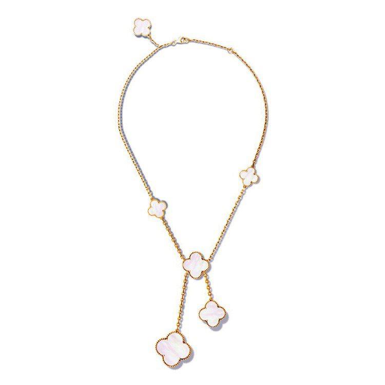 Magic Alhambra項鍊,6枚幸運圖案,黃K金鑲嵌白色珍珠母貝。圖/Va...