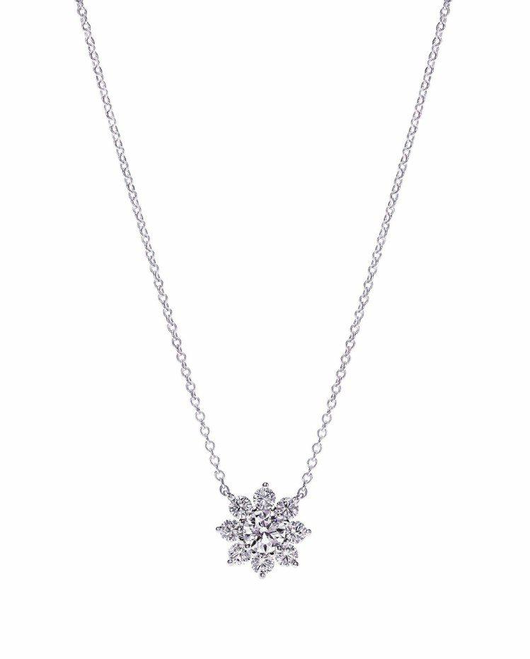 Mini Sunflower Collection鑽石項鍊,鉑金鑲嵌0.82克拉...