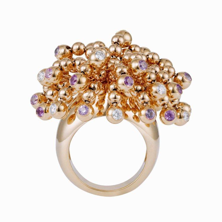玫瑰金鑲嵌鑽石和粉紅剛玉戒指,約72萬5,000元。圖/Cartier提供