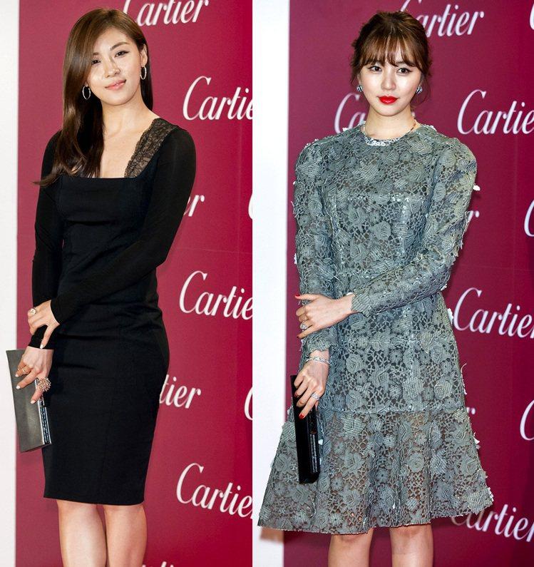河智苑(左)以性感黑色蕾絲禮服,搭配Paris Nouvelle Vague系列...