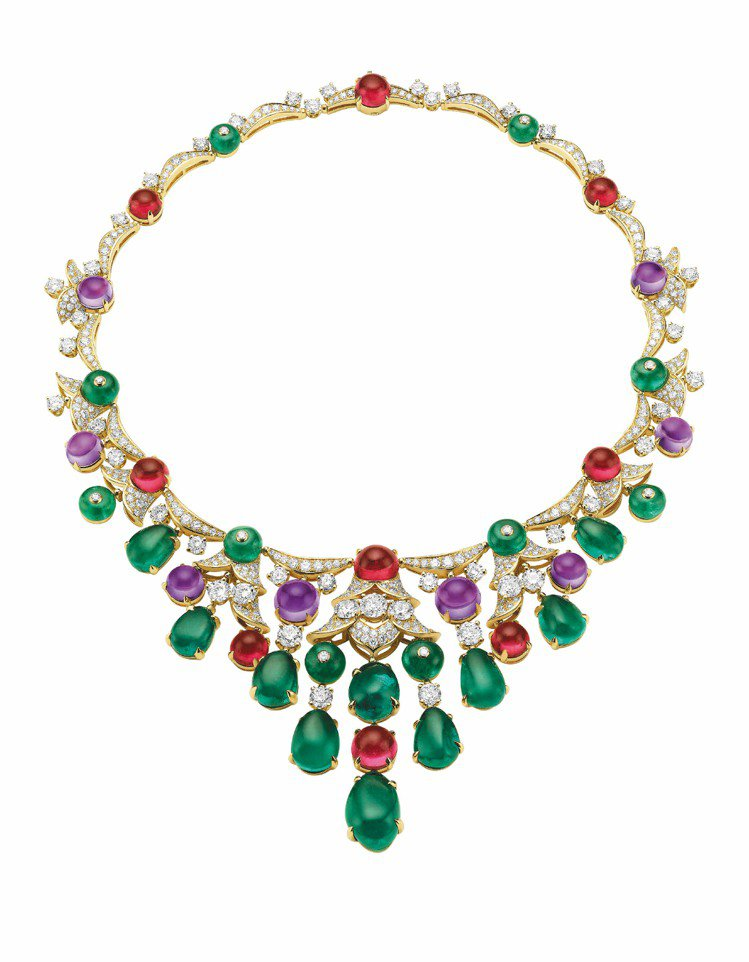 DIVA頂級珠寶項鍊,18K黃金鑲嵌10顆重78.22克拉水滴形祖母綠、10顆重...