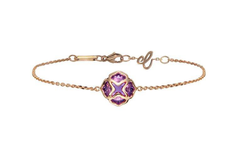 蕭邦Imperiale系列手鍊,18K玫瑰金搭配蓮花圖騰鑲嵌重3.5克拉紫水晶,...