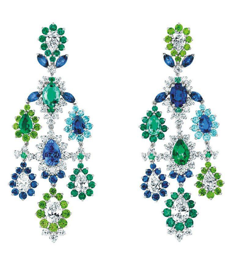 Cher Dior Exquise系列祖母綠耳環,18K白金鑲嵌鑽石、藍寶石、祖...