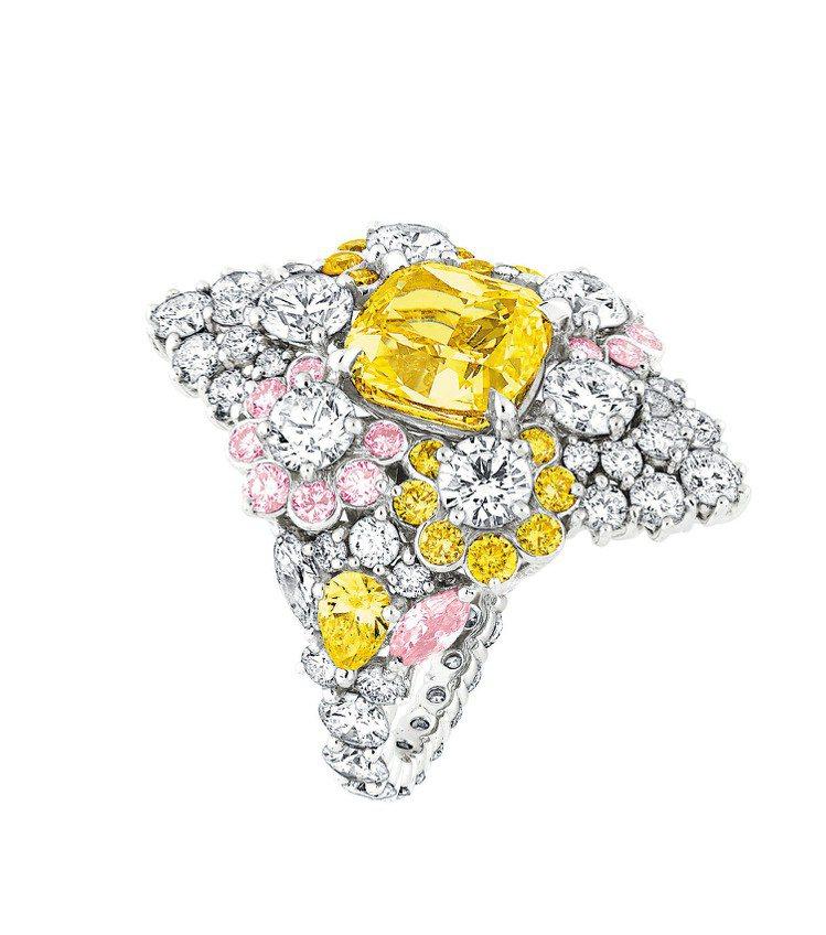 Cher Dior Etincelante系列黃鑽戒指,18K白金鑲嵌3.02克...