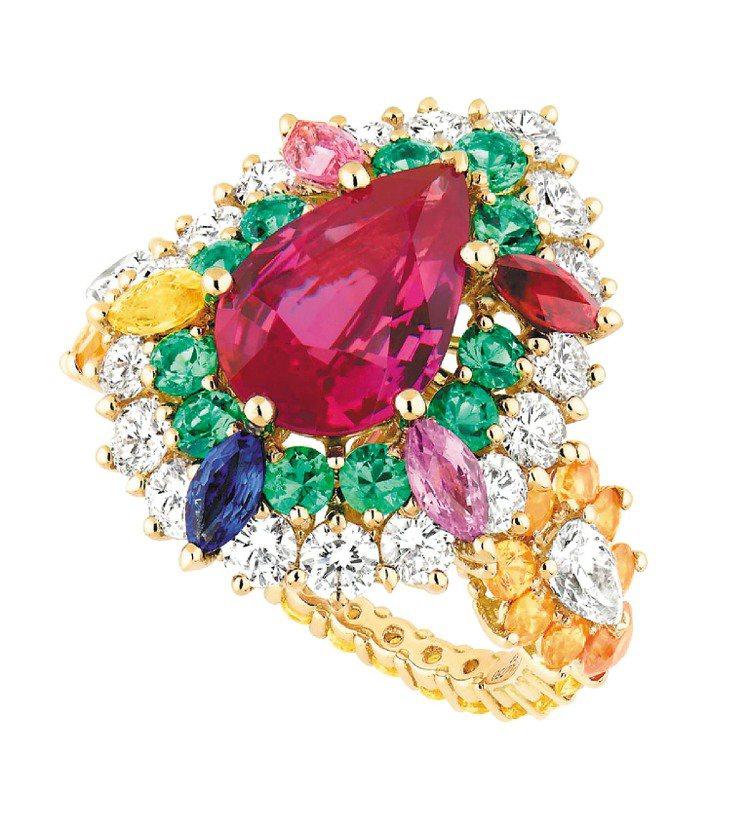 Cher Dior Exquise系列粉紅剛玉戒指,18K黃金中央鑲嵌色澤濃郁的...