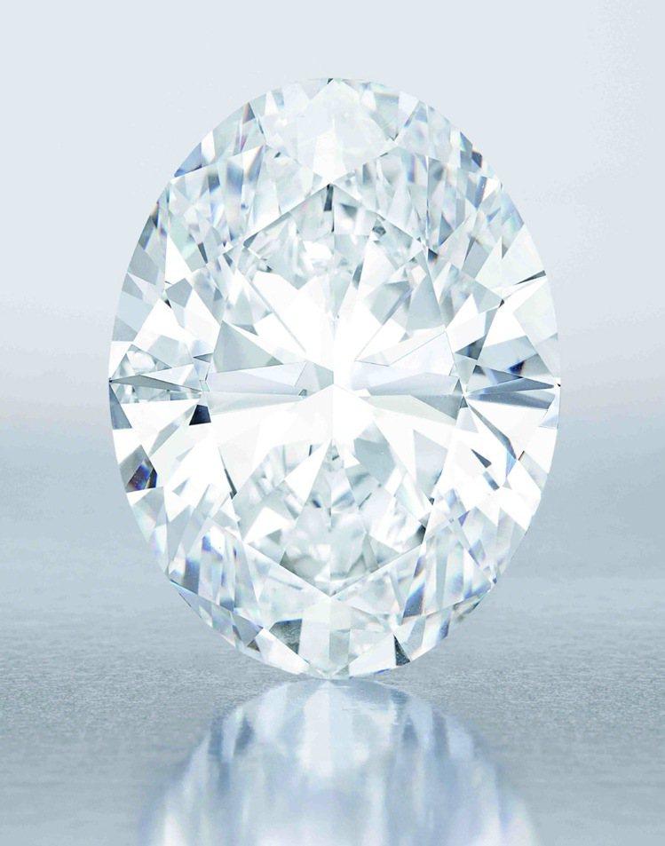 香港蘇富比秋拍將拍賣118.28克拉橢圓形D色無瑕Type IIa鑽石,估價約2...