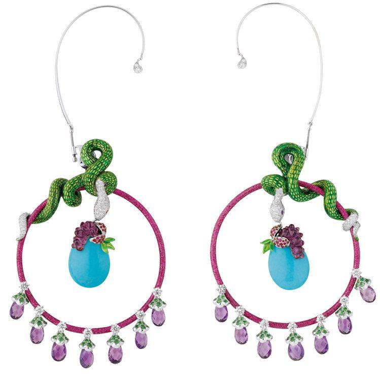 LE COFFRET DE VICTOIRE系列蛇耳環,色彩飽和的彩寶與高級彩漆...