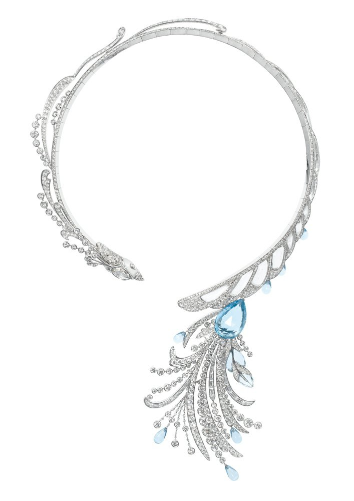 Paon de Lune月之羽翼項鍊鑲嵌1093顆鑽石共32.69克拉、14...