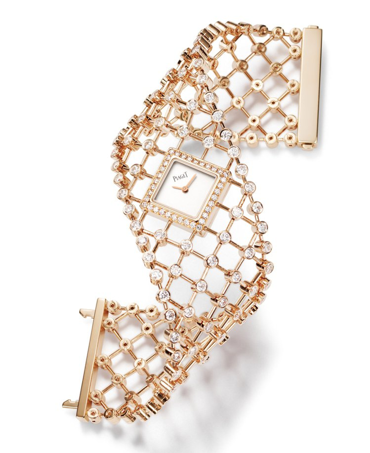 18K玫瑰金鐲錶,鑲飾194顆圓形鑽石,總重約13克拉。銀色錶盤,搭載伯爵56P...