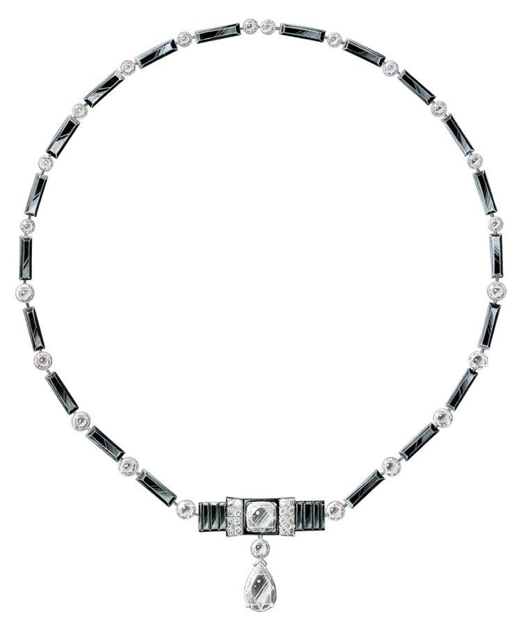 18K白金項鍊,鑲飾67顆鑽石,1顆枕型切割鑽石,1顆梨形鑽石,總重約9.64克...