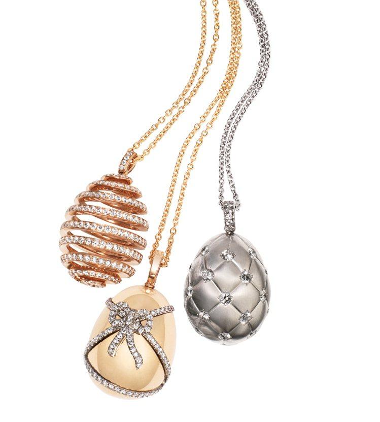 螺旋彩蛋、黃金緞帶彩蛋、格紋銀彩蛋。圖/珠寶之星